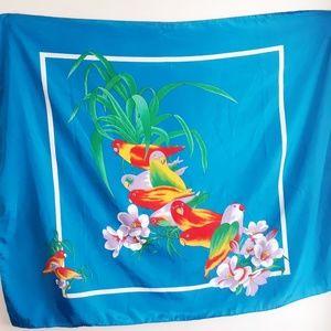 Vintage 80's Love Bird Tropical Large Scarf Wrap